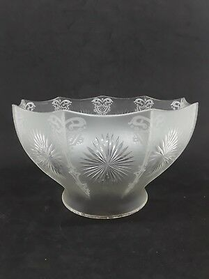 Antique Acid Etched Glass Gas Shade 4 Inch Fitter Starburst Cut Glass