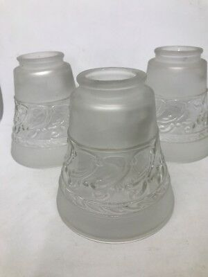 Vintage Lamp Shades Clear and Frosted Glass 5 Inches Set Of Three