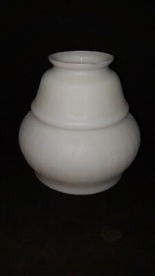 Vintage White Milk Glass / White Satin Etched Lamp Shade 2 1/4 Inch Fitter