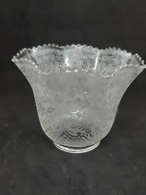 Antique Vintage Victorian Clear Floral Etched Glass Oil Gas Lamp Light Shade