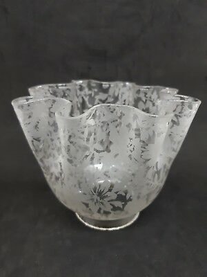 Antique Glass Frosted Etched Lamp Shade Floral Pattern 2 1/4 Inch Fitter