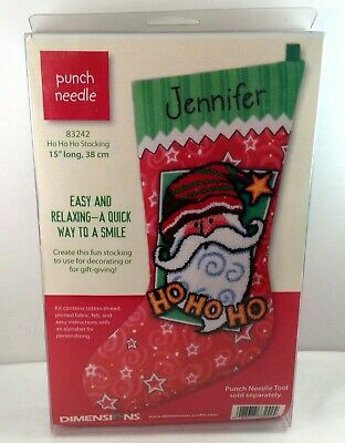 Dimensions Ho Ho Ho Stocking Punch Needle Kit 83242 Santa 15 Inches