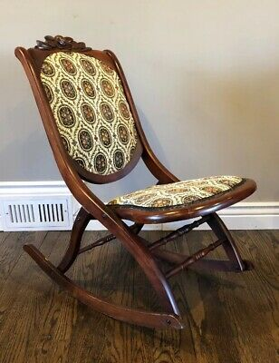 Beautiful Vintage Hardwood Folding rocking Chair Victorian Tapestry Carving