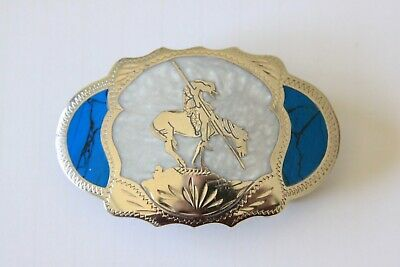 Vintage Johnson Held Indian on Horse Inlay Hand Crafted Western Belt Buckle