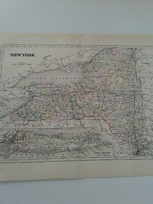 Antique Colored Map Of New York 1882