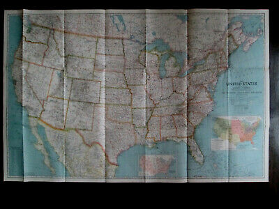 Vintage folding map. USA. THE UNITED STATES OF AMERICA. 1940