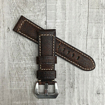For Panerai Marina PAM 24mm Handmade Brown Leather Watch Strap Band Pre-v Buckle