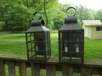 Pair Vintage Wall Sconce Solid Brass Light Lighting Lamp Lantern  Colonial