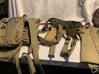 Vintage WW II WW 2 Mess Kit & Tent Pegs And Suspenders  Also Ammo Belt & Gaters