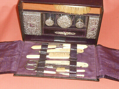 19th C Black Leather Gent's Travel Shaving Case.P H Hochmuth Silver top bottles
