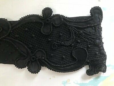 Early French Black Lace Collar Ornate 1900