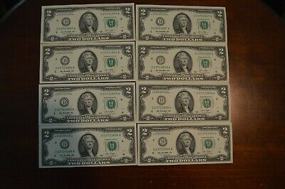 8 Uncirculated  Crisp $2 Note Two Dollar Bill  Consecutive Serial Numbers