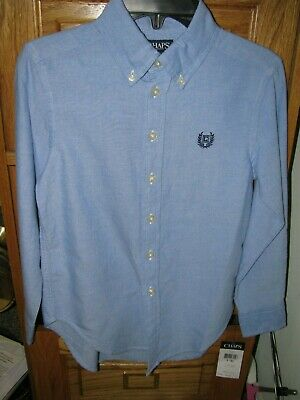 NWT Ralph Lauren Chaps blue boys button down dress shirt S small 7 8