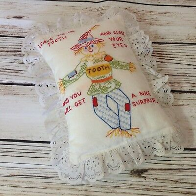 Vintage Handmade Embroidered Tooth Fairy Pocket Small Childs Pillow