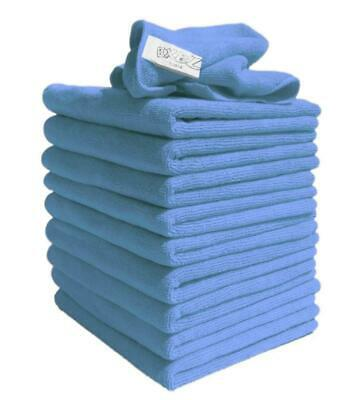 Cleaning Cloths For Polishing Washing Dusting Lint Free Microfibre 10Blue Towels
