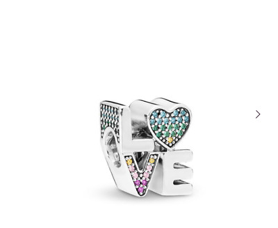 ed51db84d PANDORA Multi-Color Love Charm, Multi-Colored CZ 797189NRPMX Brand New!