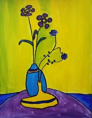 """Original Painting Oil Flowers Canvas 14""""x16"""" Expressionist Contemporary Art"""