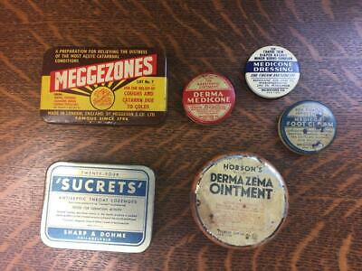 Antique Vintage Lot of 6 MEDICINE TINS Hobsons Meggezones Medicone Sucrets