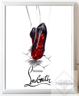 Louboutin Fashion Faux Red Glitter High Heels Art Print A4 Only