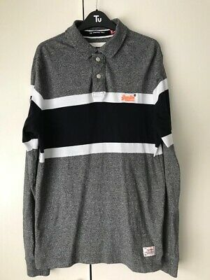Mens Grey Superdry Long Sleeved Concorde Polo Shirt Rugby Style XXL Genuine