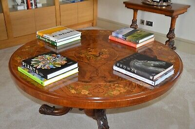 Early Victorian round burr walnut loo table profusely floral marquetry top C1865