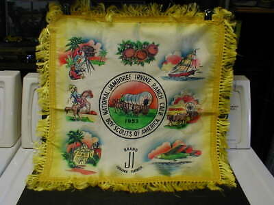 1953 BOY SCOUTS of AMERICA NATIONAL JAMBOREE SATIN SILK PILLOW COVER