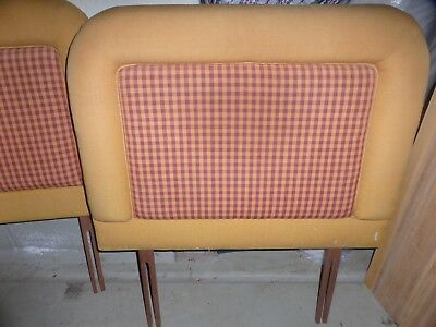 Two, 2, Pair of Single Bed Headboards, Gold and Burgundy Gingham, Cotton