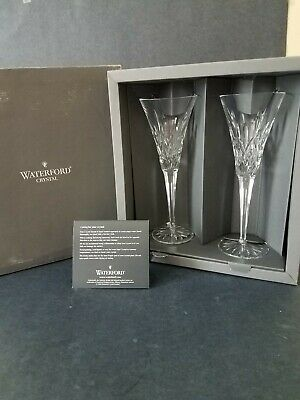 Waterford Lismore Champagne Toasting Glass Flutes~Pair Crystal Stems~New in Box