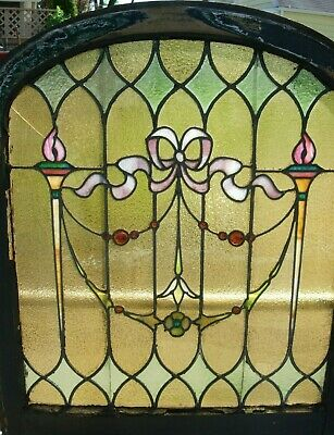 Antique Art Nouveau Jeweled Leaded Stained Glass Round Top Window 27 x 32