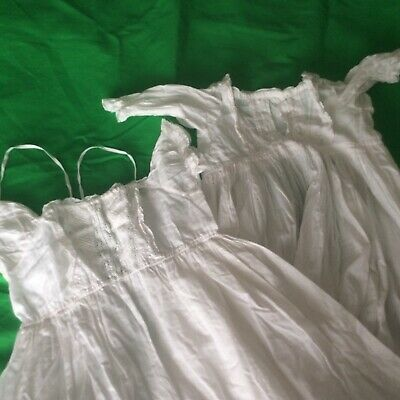 2 x Vintage/Antique/Childrens/Baby/Dolls/Gowns/Dresses/Christening/Nightdress