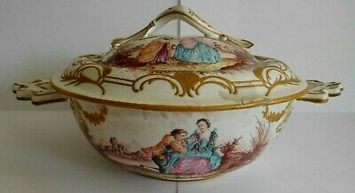 Antique Sceaux Faience Hand Painted Bowl And Cover Painted With Romantic Scenes