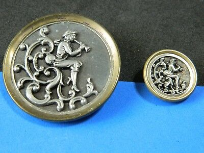 Awesome Pair Antique-Vtg PICTURE Brass Buttons PETER PAN Mother Daughter