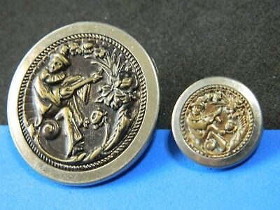 Pair Antique-Vtg PICTURE Brass Buttons SCARAMOUCHE Clown Mother Daughter