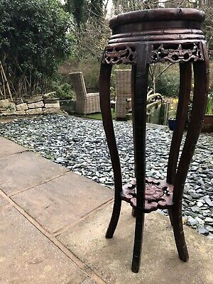 antique rosewood Chinese Jardinere Stand with Marble Disc Top