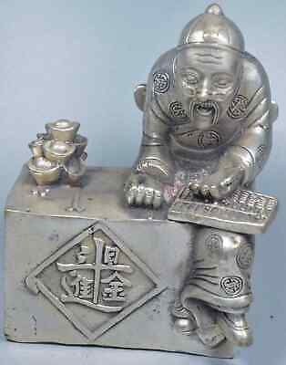Handwork Old Tibet Collectable Miao Silver Carve Fortune Teller Wealthy Statue