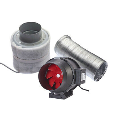 """Carbon Extraction System Filter Kit Hydroponics 125mm Twin Speed 5"""" Grow Tent"""