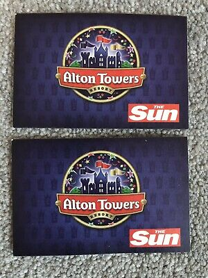 2 X Alton Towers Tickets Sunday 7th July & Discount Vouchers (y)