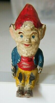 Rare Miniature Antique/Vintage Painted Metal Seated Gnome/Elf Dolls House Garden