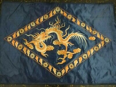 Antique Chinese Qing Dynasty hand embroidered Dragon wall panel size cm90x65
