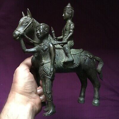 RARE LARGE  BRONZE NEAR EASTERN HORSE AND RIDER STATUETTE POST MEDIEVAL c14/18th