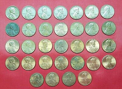 United States 32 Coins , 1 Cent 1964 - 1998 , Lincoln Memorial , VF / UNC