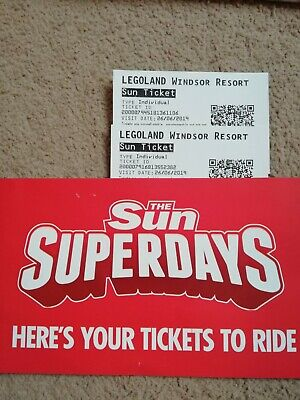 2 X Tickets Legoland Windsor Wednesday 26th June 2019 26/06/19