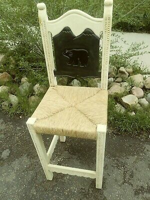 Set of 2  Hand Carved Wooden Chairs. Bear design front and rear hand painted