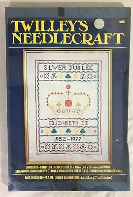 Twilley's Needlecraft Queen'sSilver Jubilee Cross Stitch Sampler Kit Printed BNI