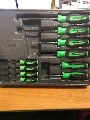 Snap On 10 Piece Screwdriver And Pick Set In Green NEW