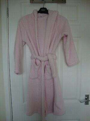 M&S Girls Pink Soft Hooded Dressing Robe with Belt size 9-10 years