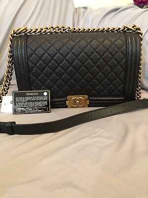 84ad9202182563 Chanel Boy Flap Bag New Medium Black Caviar Leather Gold Hardware