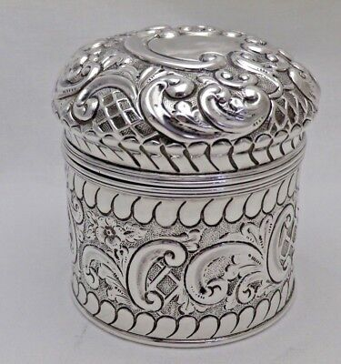 Antique Solid Sterling Silver Round Canister or Tea Caddy B'Ham 1898 (973-9-VKS)