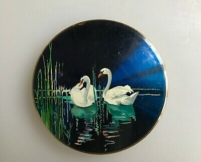 Vintage Stratton Compact Powder Case - White Swans - 1950s - made in England