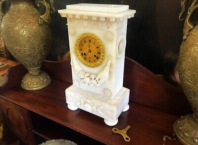 Japy Freres 8 Day Alabaster Mantle Clock